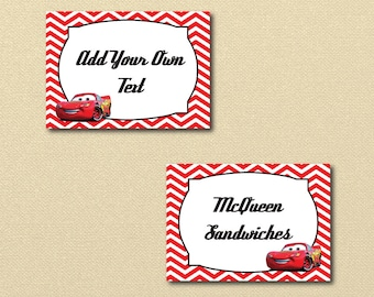 Lightning McQueen Party Printables, printable Cars labels, Disney Cars Birthday Party, printable file, Editable Labels, editable pdf