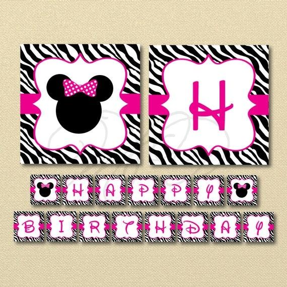 Minnie Mouse Banner Zebra Minnie Mouse Happy Birthday