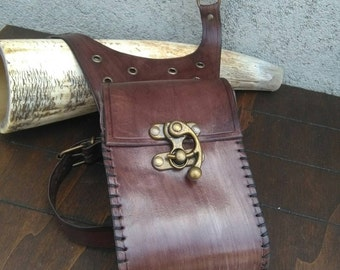 Steampunk leather leg pouch.
