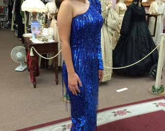 Glamorous Blue Beaded Gown