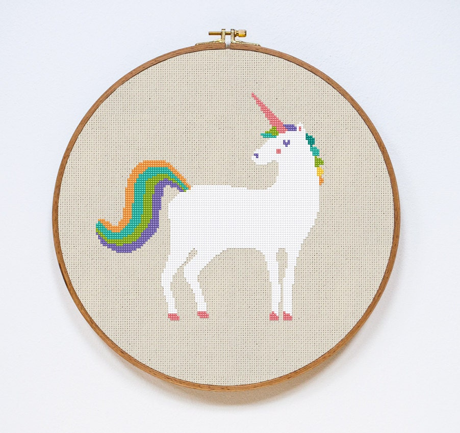 Modern cross stitch pattern unicorn