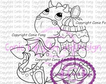 Digital Stamp, Digi Stamp, Digistamp, Tori the Dragon- Birthday Boy by Conie Fong, birthday, celebration, congratulation, football, coloring
