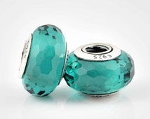 2 charms Authentic Pandora 925 ALE Glass turquoise Murano Charm Bead