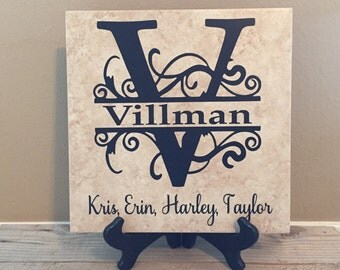 Personalized Name Tile, Monogramed Tile, Name Sign, Family Tree, Wedding Gift, Name Sign, Last Name Sign, Anniversary Gift, Housewarmig Gift