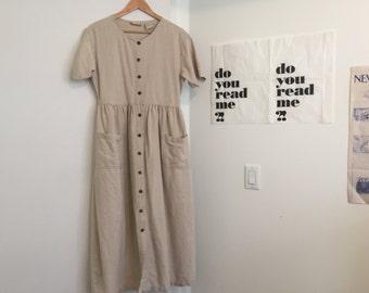 Linen Button-Front Maxi Dress
