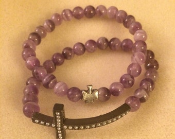 Purple cross bracelets