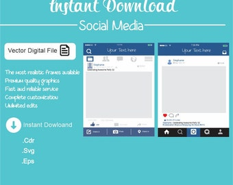 Pack Social Media - Facebook Style Photo Prop Frame