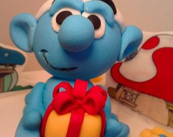 Handmade Jokey Smurf decoration birthday boy girl name age cake topper,shipping from UK