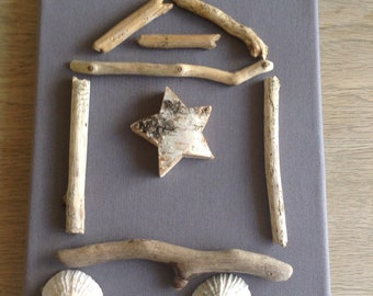 Beach hut driftwood canvas