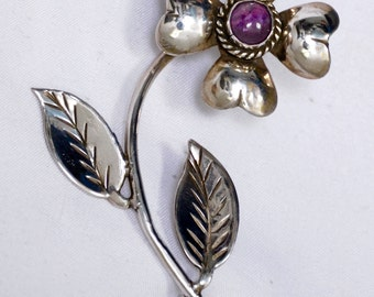 Antique Flower Brooch sterling marked very early C clasp flower Amethyst stone