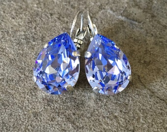 PERFECT PEAR 18x13 Swarovski crystal lever-back pear shaped earrings - select your color