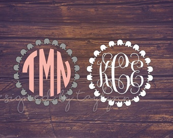 Elephant Monogram, Elephant border monogram, Monograms, Decals, Yeti Decal, Car Decal, Personalized Decal, Vinyl Decal, Decals