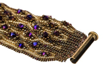 Herringbone Stitch Cuff Bracelet, HerringboneBeadwork, Beaded Bracelet, Herringbone Cuff Bracelet
