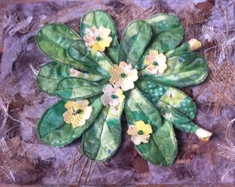 Primroses in Spring Abstract Fabric Driftwood Mount Unique Wallart