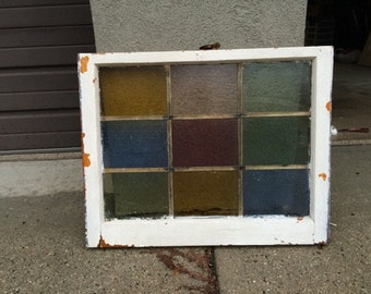 Vintage 6 pane stained glass window