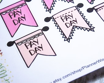 Pay Day, Stickers, Planner Stickers, Erin Condren, Happy Planner