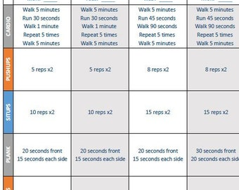4-Week Progressive Fitness Plan Worksheets