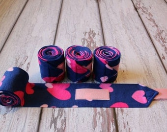 Polo Wraps / Stable Wraps, Set of 4 Pink Hearts