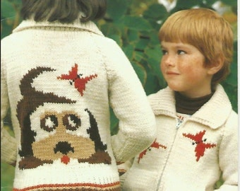 Knit Boys or Girls Zippered Jacket Doggie Sweater Cardigan with Pockets and Collar Long Sleeves Vintage Pattern Instant Download Pdf