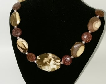Muscovite , Agate and Pink Fresh Water Pearl Necklace with Sterling Silver