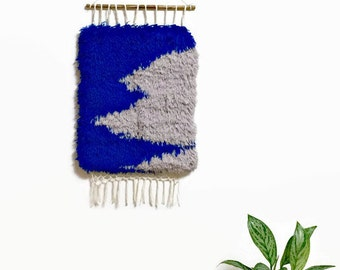 Woven Wall Hanging, Shaggy Handwoven Tapestry in Cobalt Blue and Greige, Fur-like touch, Boho Decor, Fiber Art, Textile Art