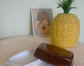 Vintage Melaware brown and white butter dish