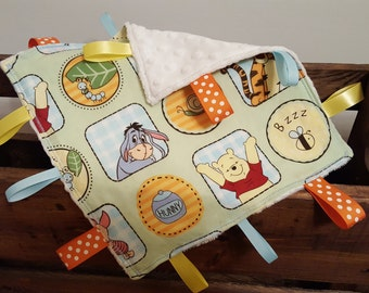 Winnie The Pooh Tag Blanket - Sensory Blanket - Lovey