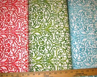Free Spirit - Merry Mistletoe - Scrollwork - Aqua, Red, Green