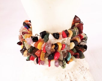Wrap Bracelet,  Multi Gemstones Chips