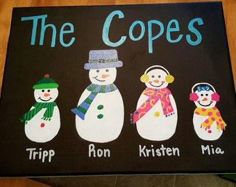 Snowman Family Painting