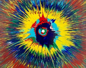 """Twist - Original Colorful Abstract Spin Painting - Acrylic on Canvas - 16"""" x 20"""" - Green Red Blue Yellow Teal"""