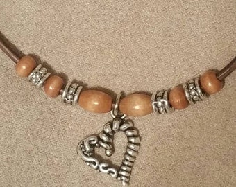 Silver Heart Charm Beaded Necklace