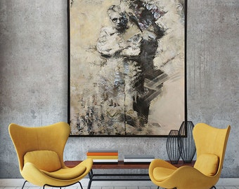 Grandmother art, large oil painting by Sarah Hultin, woman portrait, rural contemporary, floral wallpaper, mixed media art, figure painting