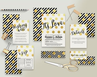 "Printable Wedding Invitation Suite ""Be Fabulous"" - Printable DIY Invite, Affordable Wedding Invitation"