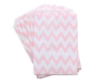 Party Favor Bag, Paper Favor Bags, Pink Chevron Paper Favor Bags, Gender Reveal Party, Wedding Favors, Bridal Shower, Princess 1st Birthday