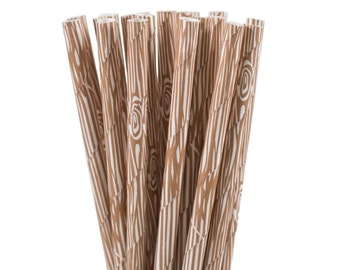 Paper Straws, Wood Grain Paper Straws, Woodland Party Supplies, Camping Party Decor, Rustic 1st Birthday Party, Adventure Party Paper Straws