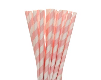 Paper Straws, Light Pink Striped Paper Straws, Pink Baby Shower Decor, Bridal Shower Straw, Princess 1st Birthday, Gender Reveal Party Decor