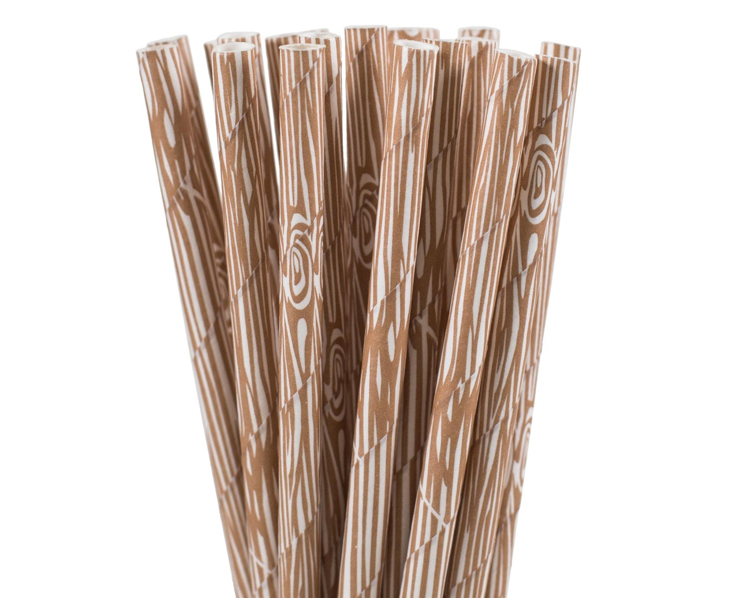 Paper Straws Wood Grain Paper Straws Woodland Party