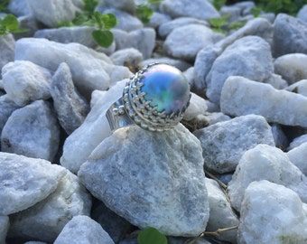 Blue Mabe Pearl in Sterling Silver Ring