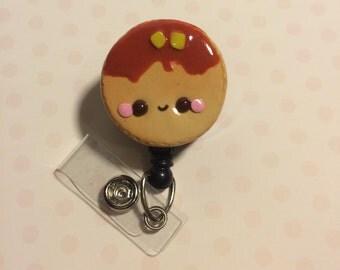 Retractable ID badge holder - Cute Pancake Badge Holder for Work Badges