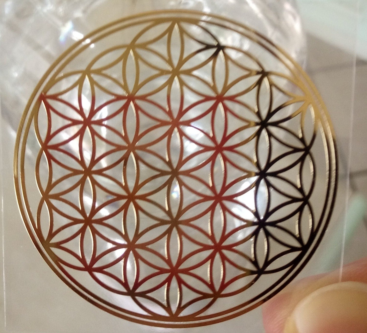 FLOWER of LIFE sticker - beautiful golden sticker. Stick it on your mobile phone cover, computer, fridge, water bottles ecc Sacred Geometry