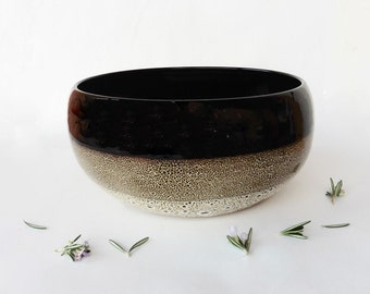 Speckled brown salad bowl, in stoneware
