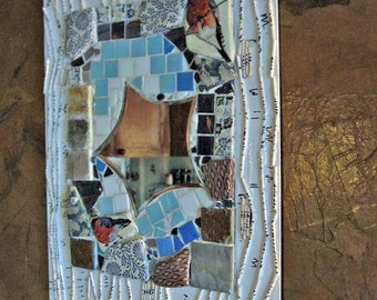 Mosaic mirror, mixed media, winter bullfinch, gift
