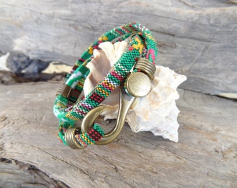 EXPRESS SHIPPING,Men Rainbow Cotton Bracelet,Wrap Boho Bracelet,Antique Fishhook Bracelet,Unisex Bracelet, Ethnic Bracelet, Gift for Him