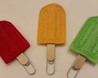 Embroidered Popsicle Day Planner Clip/Bookmarker