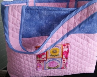 Tote, Quilted, Reversible,Flower Print