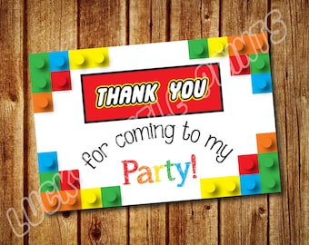 Lego Thank You Note Card; Instant Download