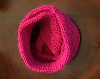 Handmade Infinity Scarf in Shocking Pink