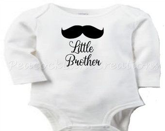 Infant Little Brother Long Sleeve Bodysuit with Mustache