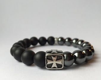 Black onyx, hematite, stainless steel cross beads bracelet 10mm fashion mat frosted